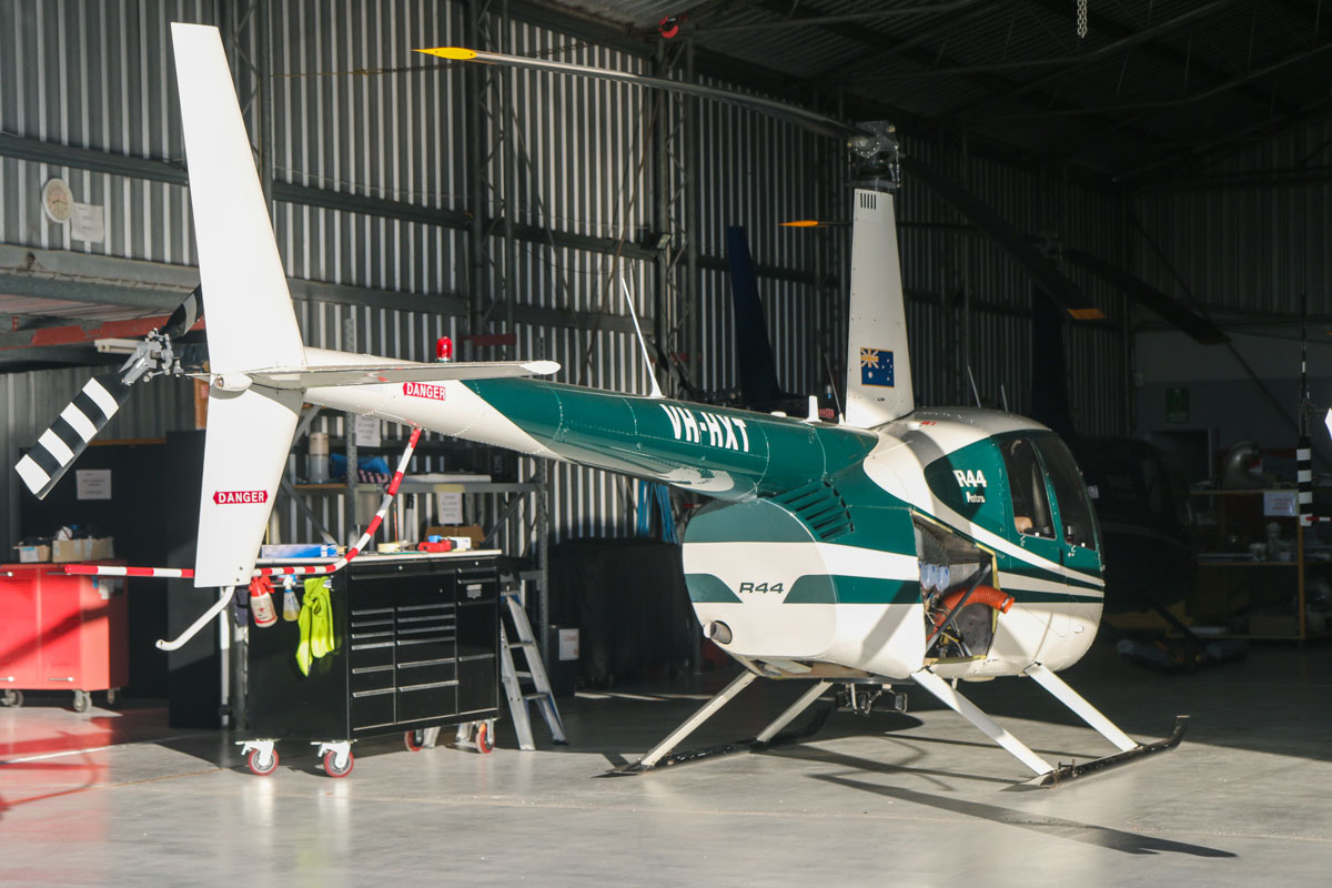 VH-HXT Robinson R44 Astro (MSN 0175) owned by Claude Meunier, of Grass Valley, WA, at Jandakot Airport - Sat 23 May 2015. Built in 1995, ex ZK-HRG. Photo © David Eyre