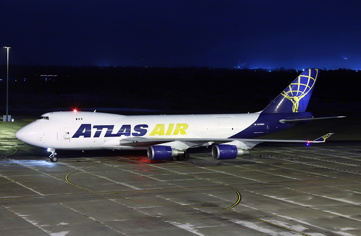 N498MC Boeing 747-47UF (MSN 29259/1227) of Atlas Air, at Perth Airport – 2 June 2015.