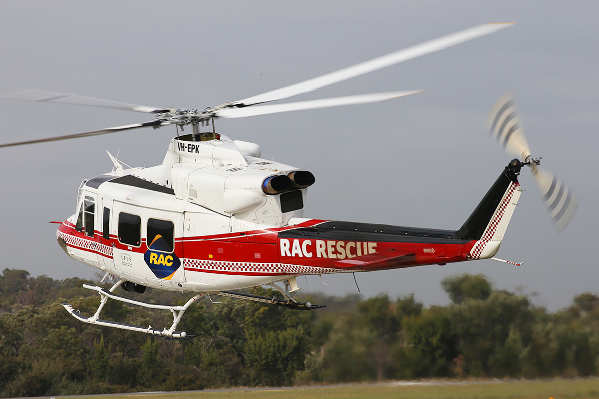 VH-EPK Bell 412EP (cn 36100) of CHC Helicopters, on lease to the WA Department of Fire and Emergency Services as 'RAC RESCUE' at Jandakot Airport – Thurs 4 June 2015.