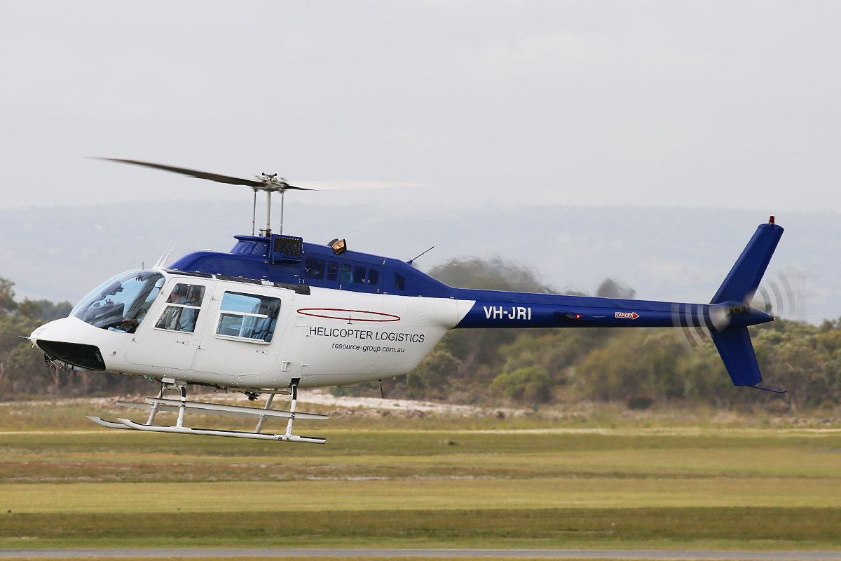 VH-JRI Bell 206B JetRanger III (MSN 4234) of Helicopter Logistics Pty Ltd (Resource Aviation Pty Ltd) at Jandakot Airport –Thurs 4 June 2015.