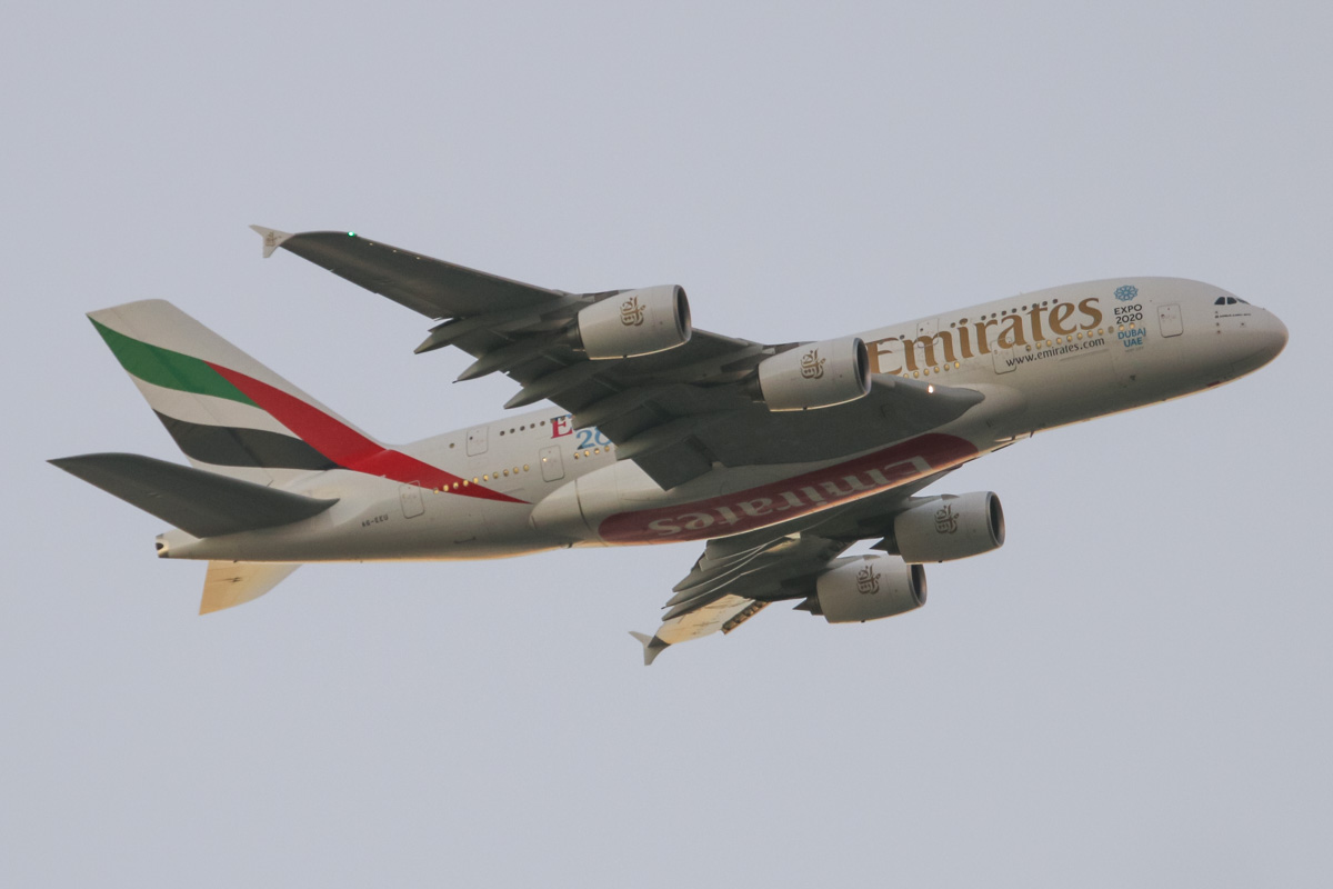 A6-EEU Airbus A-380-861 (MSN 147) of Emirates, with 'Rugby World Cup 2015 - England 2015' decals on the rear fuselage, over Henley Brook, north of Perth – Thu 4 June 2015. Flight EK420 from Dubai is seen here at 5:23pm, turning from the 9 DME arc onto the approach to Perth Airport's runway 21. You can see the cabin lights are on inside the windows. Photo © David Eyre