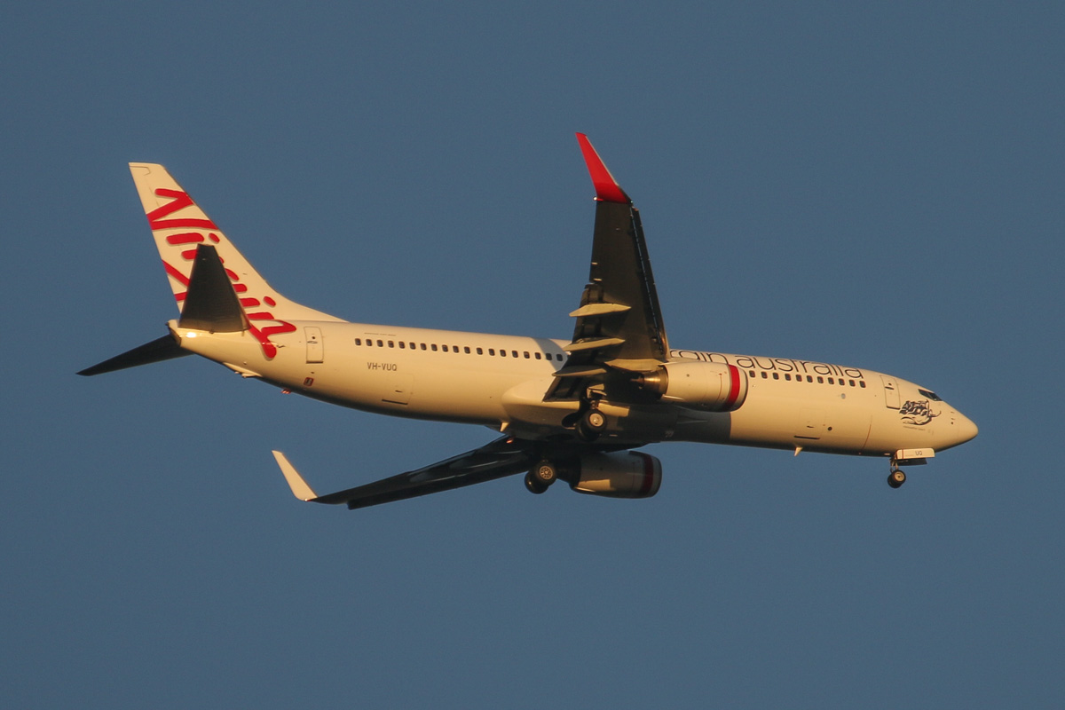 VH-VUQ Boeing 737-8FE (MSN 36605/2710), named 'Merewether Beach', of Virgin Australia, over Henley Brook - Thu 4 June 2015. Flight VA1436 from Darwin, on approach to Perth Airport's runway 21 at 4:57pm. Photo © David Eyre