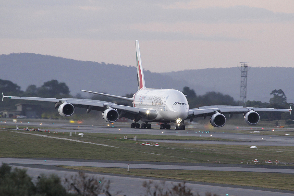 A6-EEM Airbus A380-861 (MSN 134) of Emirates at Perth Airport – 6 June 2015.