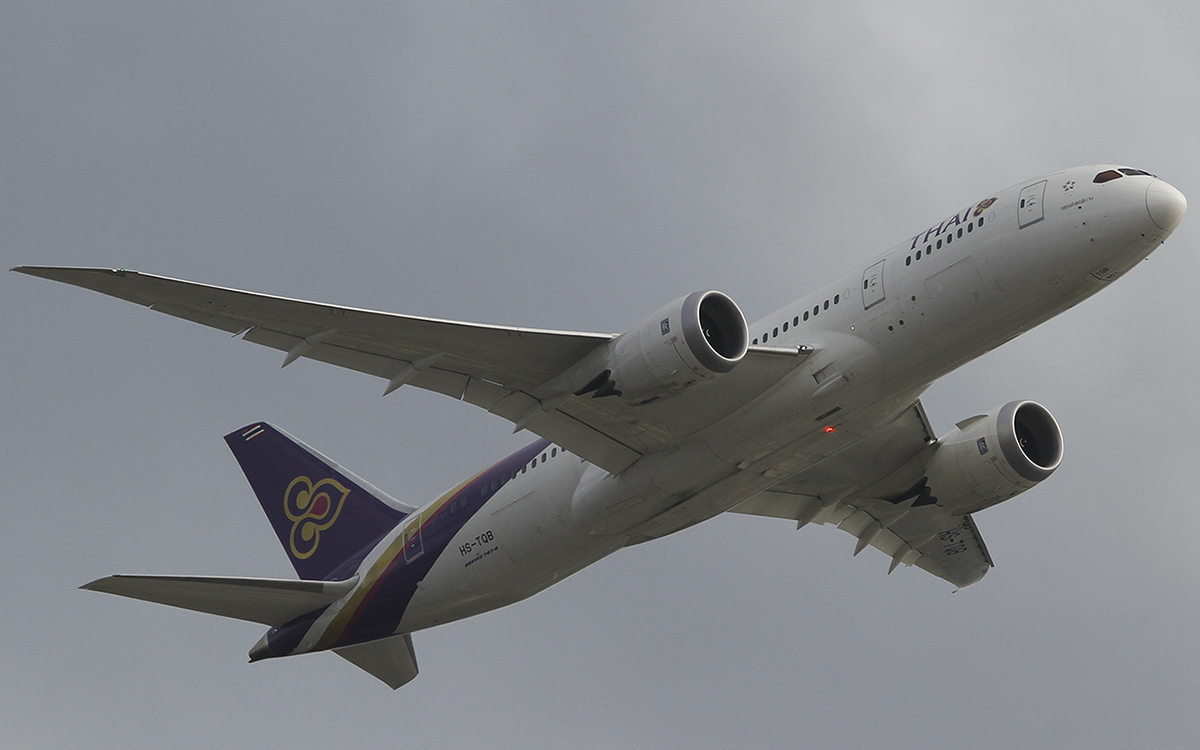 HS-TQB Boeing 787-8 Dreamliner (MSN 35316/209) named 'Chaturaphak Phiman', of Thai Airways International at Perth Airport – 6 June 2015
