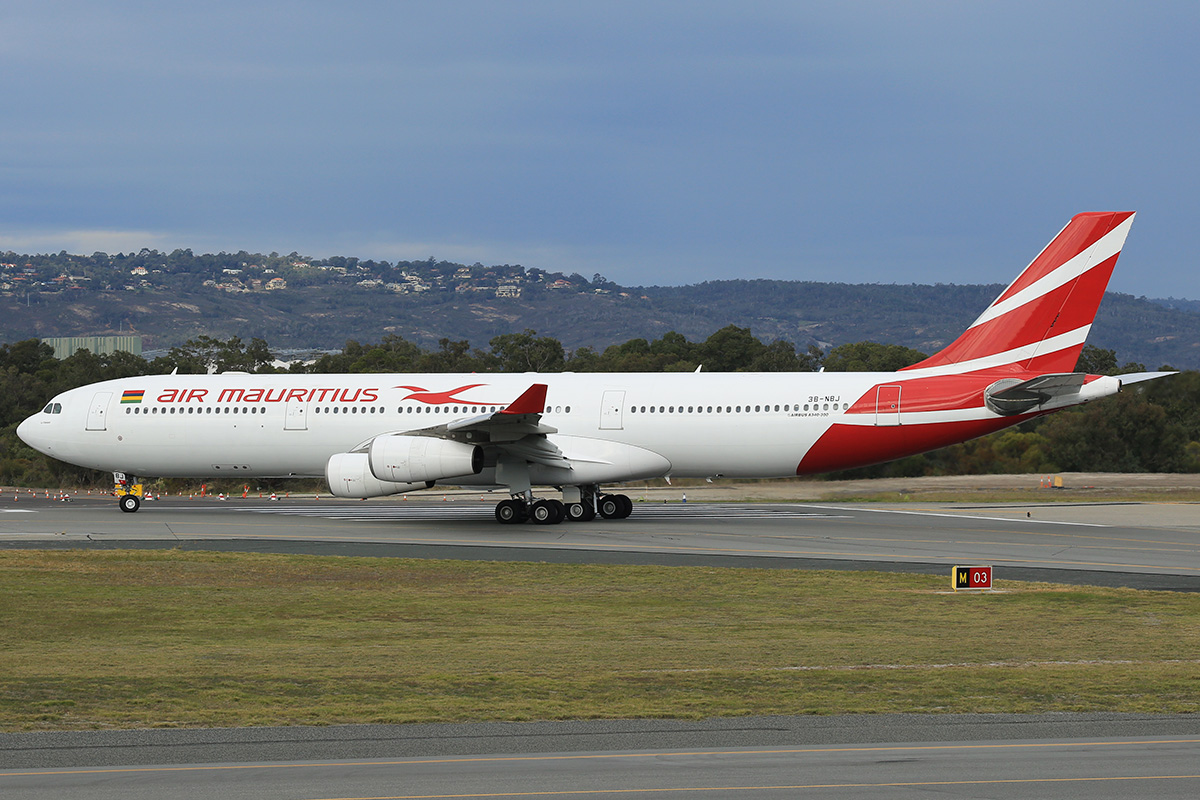 3B-NBJ Airbus A340-313E (MSN 800) of Air Mauritius at Perth Airport – 17 June 2015.