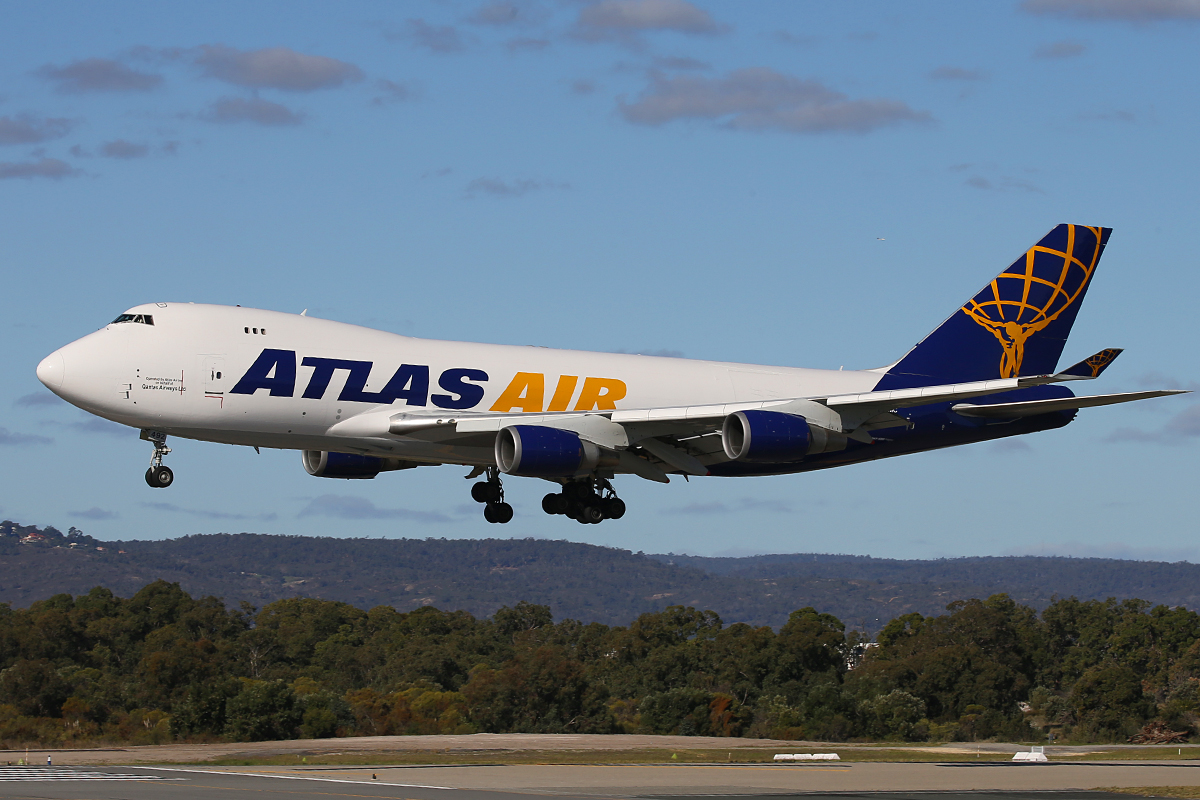 N492MC Boeing 747-47UF (MSN 29253) of Atlas Air Cargo at Perth Airport – 23 June 2015.