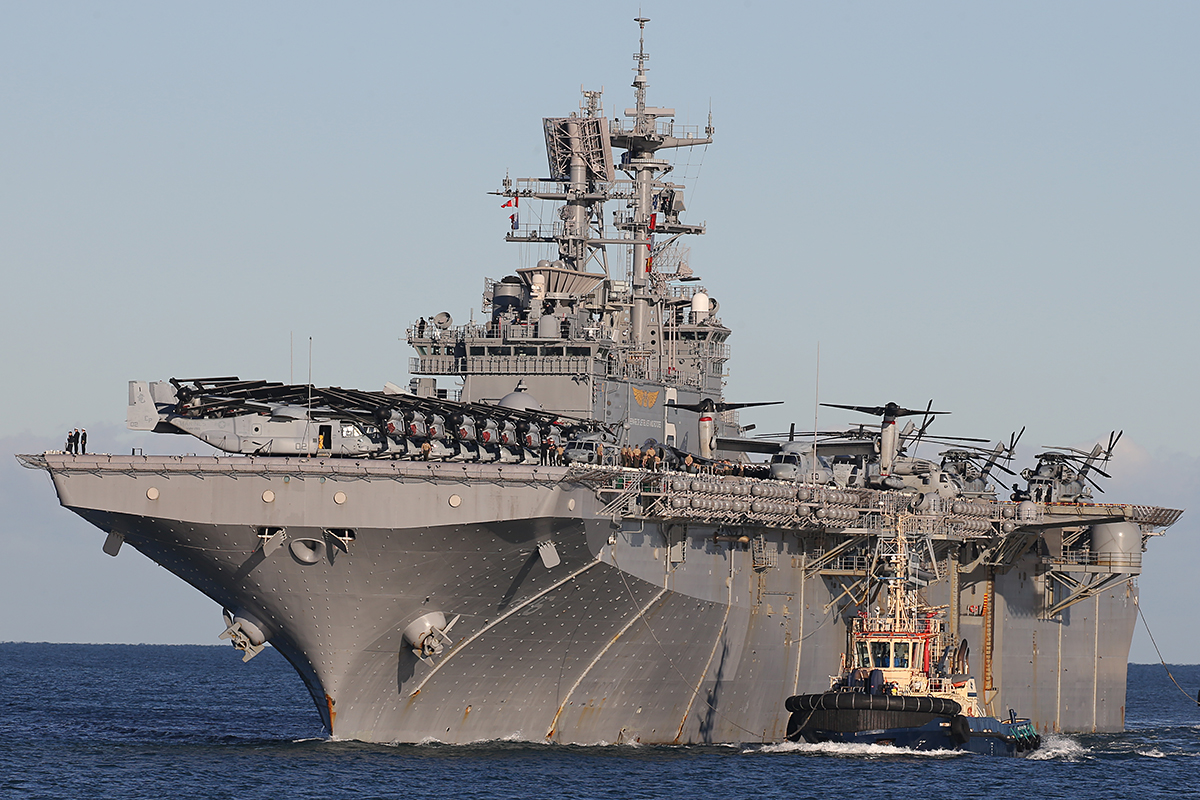 USS Bonhomme Richard arriving at Fremantle - 25 June 2015