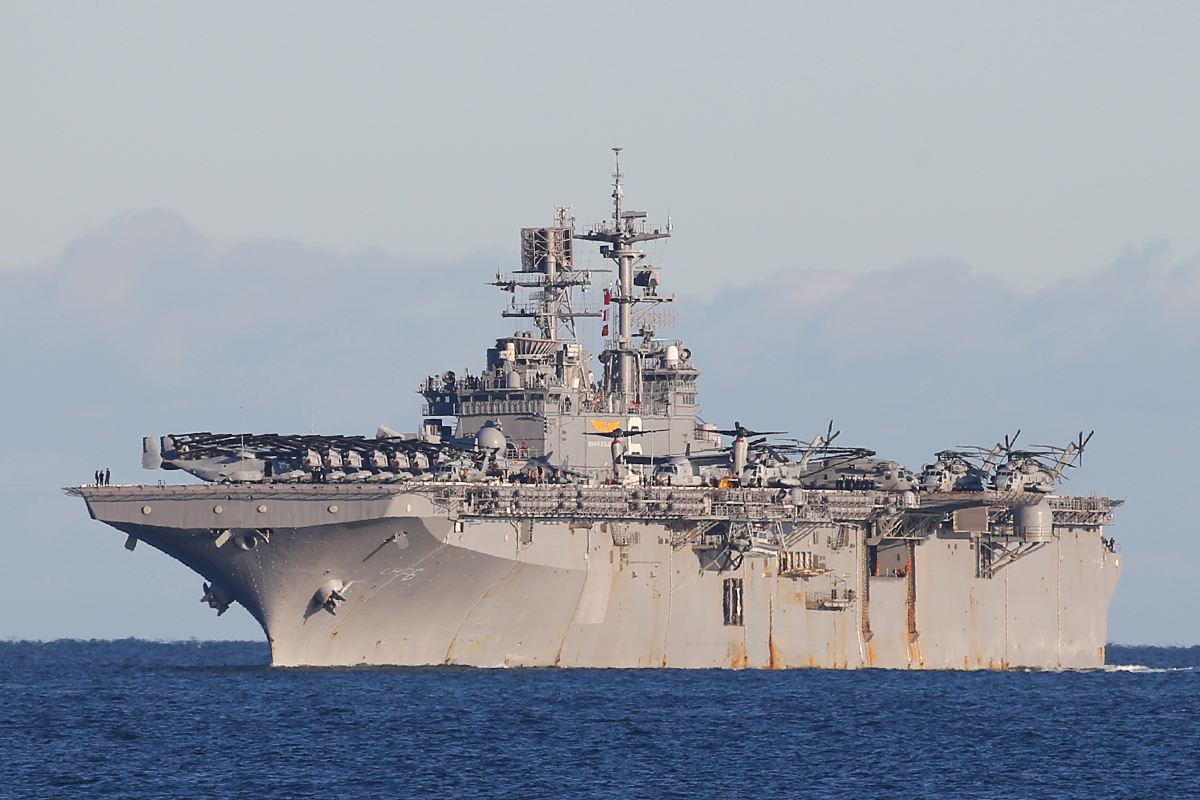 USS Bonhomme Richard, a Wasp class Amphibious Assault ship at Fremantle – 25 June 2015.