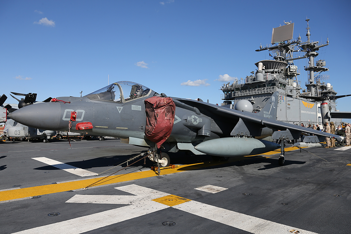 "AV-8B Harrier II of VMA-311 ""Tomcats"" embarked aboard USS Bonhomme Richard."