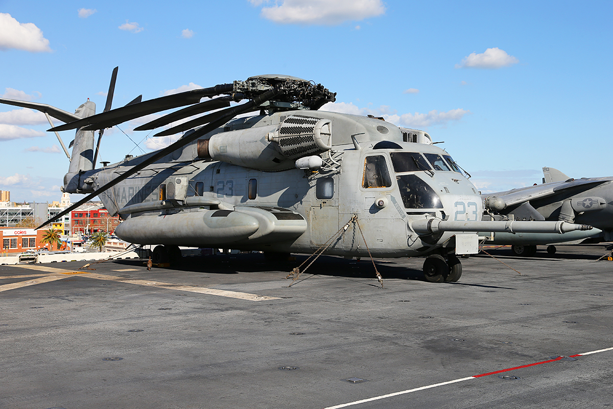 "CH-53E Super Sea Stallion of HMH-462 ""Heavy Haulers"" embarked aboard USS Bonhomme Richard."
