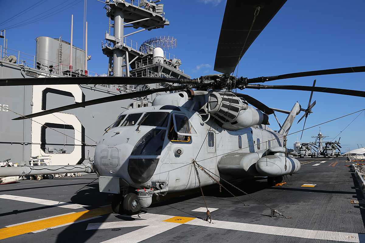 "CH-53E Super Sea Stallion of HMH-462 ""Heavy Haulers"" embarked aboard USS Bonhomme Richard.<br />"