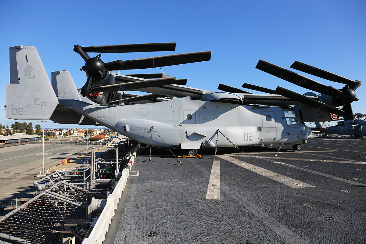 "MV-22B Osprey of VMM-265 ""Dragons"" embarked aboard USS Bonhomme Richard."