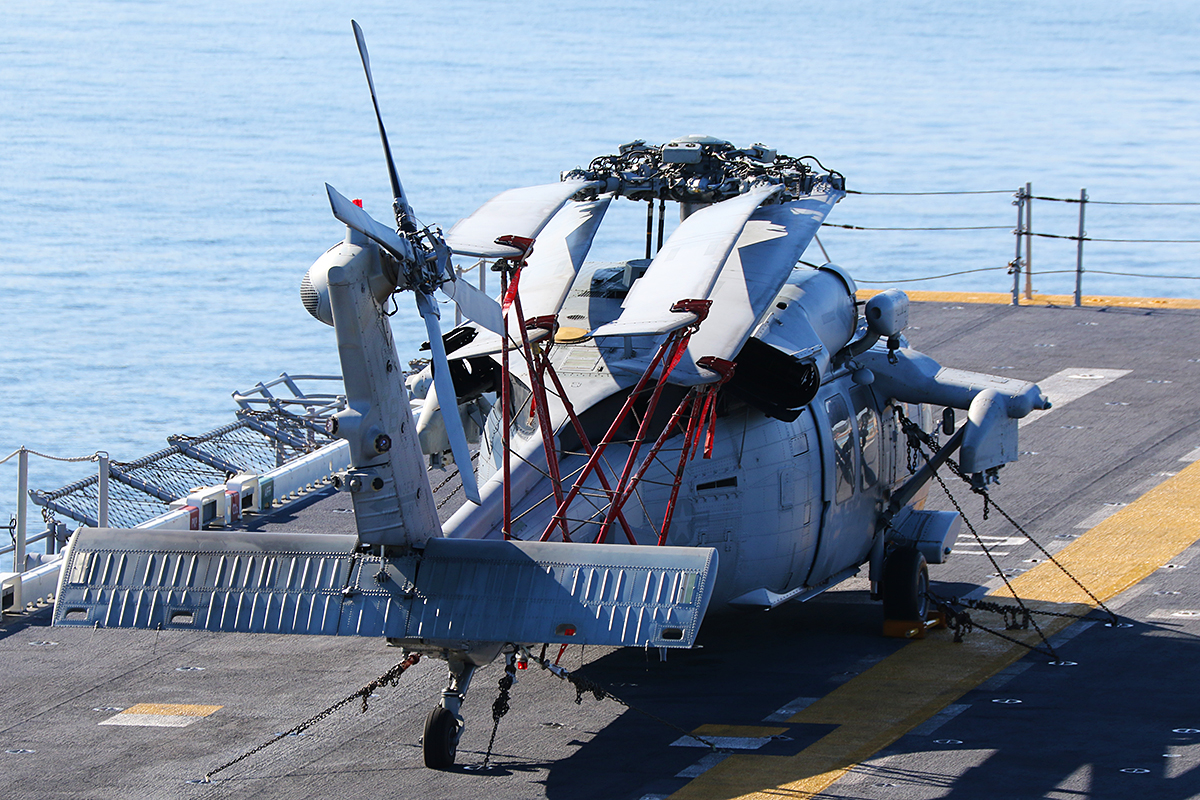 "MH-60S Seahawk of HSC-25 ""Island Knights"" embarked aboard USS Bonhomme Richard."