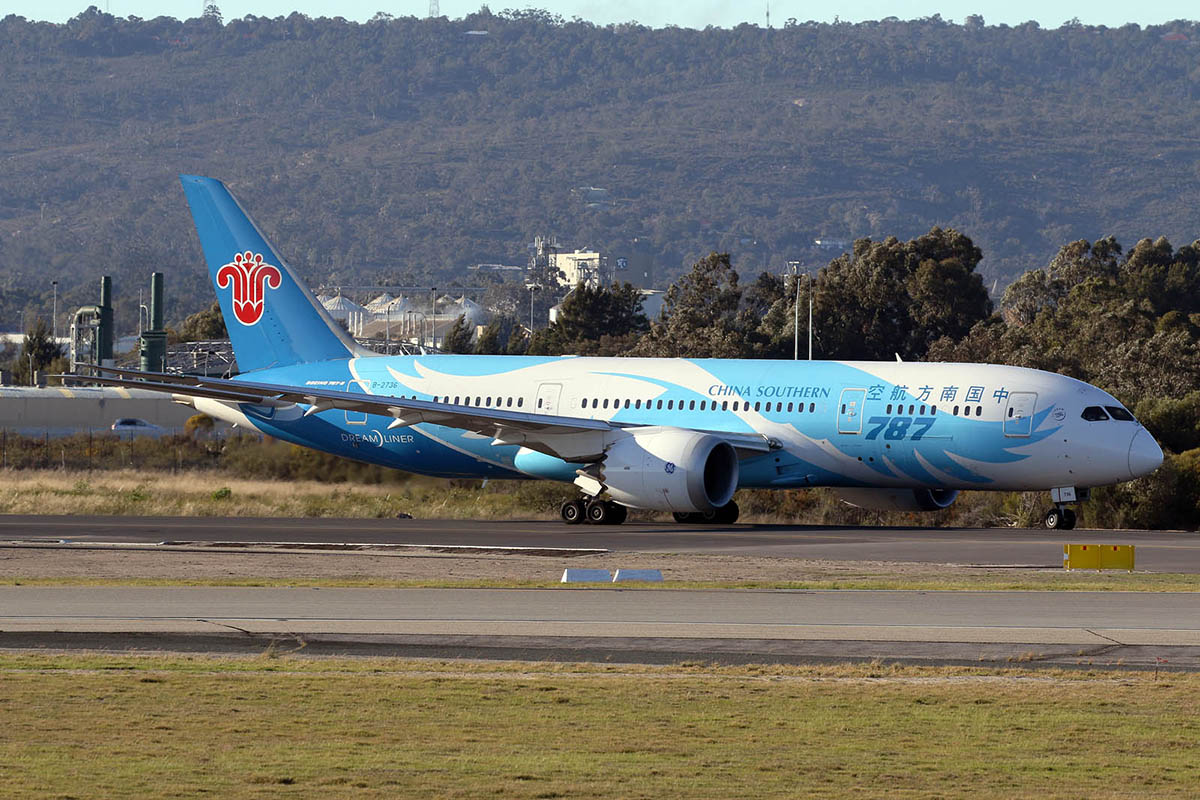 B-2736 Boeing 787-8 DreamLiner (MSN 34929) of China Southern at Perth Airport – 28 June 2015.