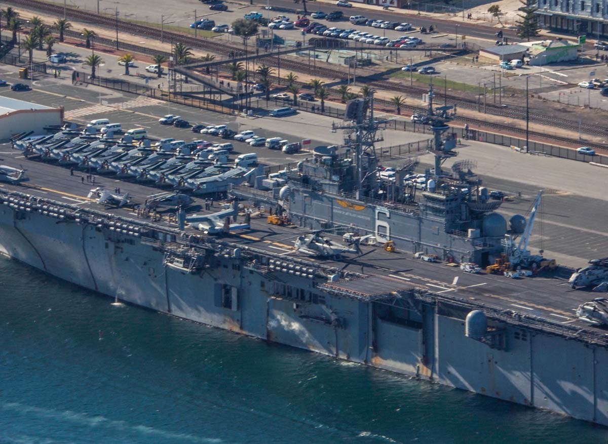 USS Bonhomme Richard (LHD-6) at Fremantle Port - Sun 28 June 2015. Aerial photo taken at 1,500 feet. Aircraft aboard included MV-22B Ospreys of VMM-265, AV-8B Harrier IIs of VMA-311, CH-53E Super Stallions of HMH-462, and MH-60S Seahawks of HSC-25 Detachment 6. Photo © Nick Tantra
