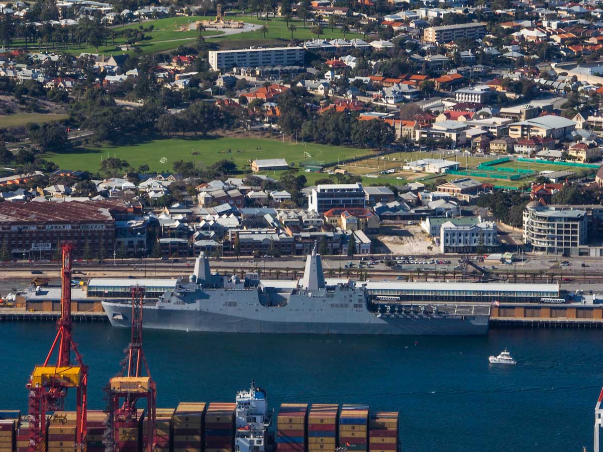 USS Bonhomme Richard (LHD-6) and USS Green Bay (LPD-20) at Fremantle Port - Sun 28 June 2015. Aerial photo taken at 1,500 feet. Aboard the USS Green Bay were AH-1W Super Cobras and UH-1Y Venoms of HMLA-269. Photo © Nick Tantra