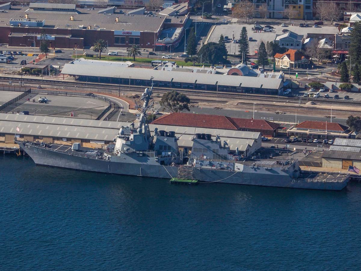 USS Preble (DDG-88) at Fremantle Port - Sun 28 June 2015. Aerial photo taken at 1,500 feet. USS Preble had two MH-60R Seahawks of HSM-37 Detachment 5 in the hangars. Photo © Nick Tantra