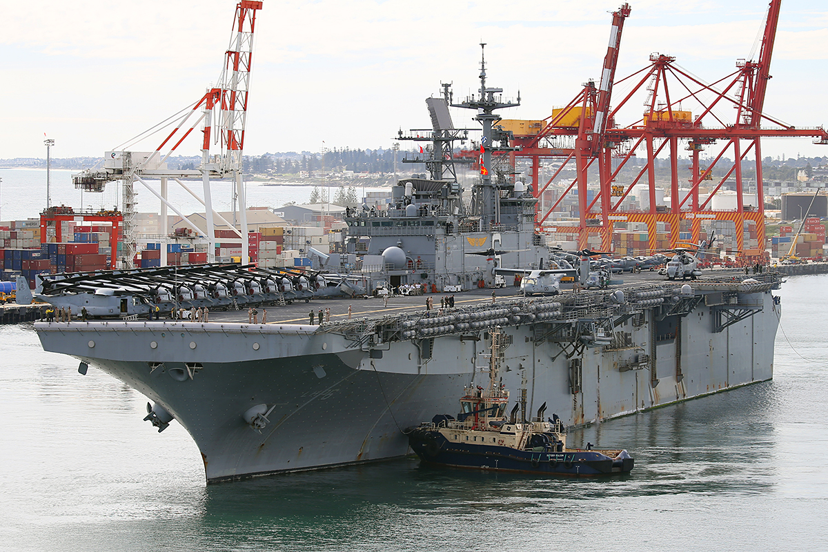 The Wasp-class Amphibious Assault ship, USS Bonhomme Richard being turned in Fremantle Harbour in preparation to sail out at 1:29 pm, after a five day liberty call, headed now for northern Australia to participate in exercise Talisman Sabre.