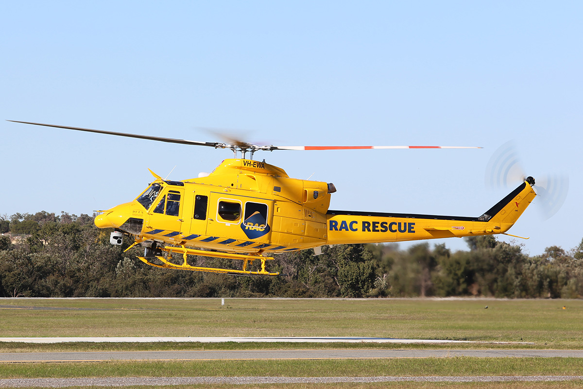 "VH-EWA ""RAC Rescue"" Bell 412EP (MSN 36312) of the Department of Fire & Emergency Services (operated by CHC Helicopters) at Jandakot Airport – 27 June 2015."