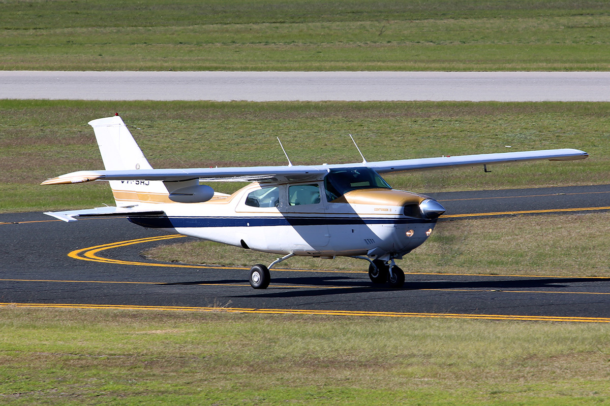 VH-SRJ Cessna 210L Centurion II (MSN 21061417, ex N732CU) owned by Busselton Aviation Pty Ltd, With a weather radar pod under the wing, at Jandakot Airport – 27 June 2015.