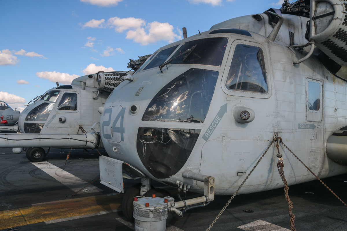 "163078/21 (MSN 65-571) and 162491/24 (MSN 65-503) Sikorsky CH-53E Super Stallion of HMH-462 ""Heavy Haulers"", USMC, embarked aboard USS Bonhomme Richard (LHD-6), at Fremantle - Fri 26 June 2015. Photo © David Eyre"