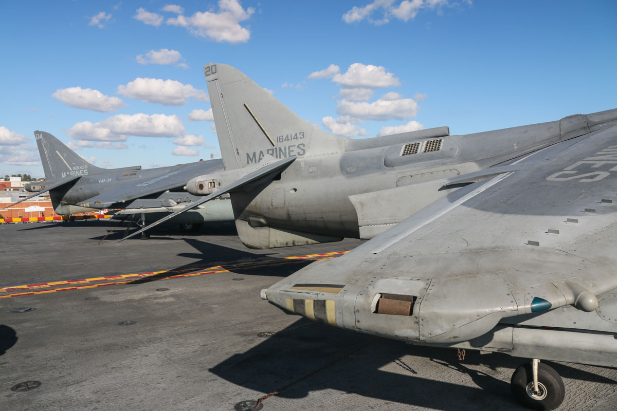 164143/(WL-)20 McDonnell-Douglas AV-8B Harrier II Night Attack (MSN 216) and 165430/(WL-)04 McDonnell-Douglas AV-8B+(R) Harrier II Plus (MSN B302, ex 163426) of VMA-311 'Tomcats', USMC, aboard USS Bonhomme Richard (LHD-6), at Fremantle - Fri 26 June 2015. Photo © David Eyre
