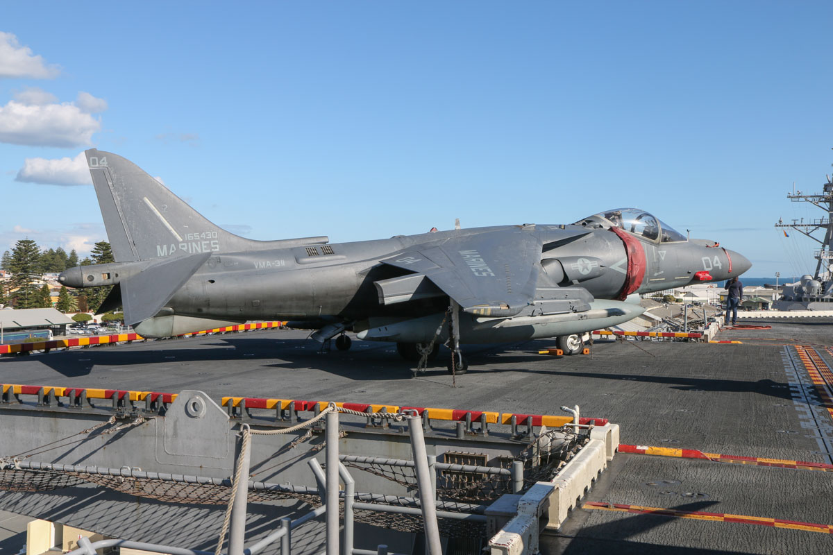 "165430/(WL-)04 McDonnell-Douglas AV-8B+(R) Harrier II Plus (MSN B302) of VMA-311 ""Tomcats"", USMC, embarked aboard USS Bonhomme Richard (LHD-6), at Fremantle - Fri 26 June 2015. Re-manufactured from Harrier II 163426. Photo © David Eyre"