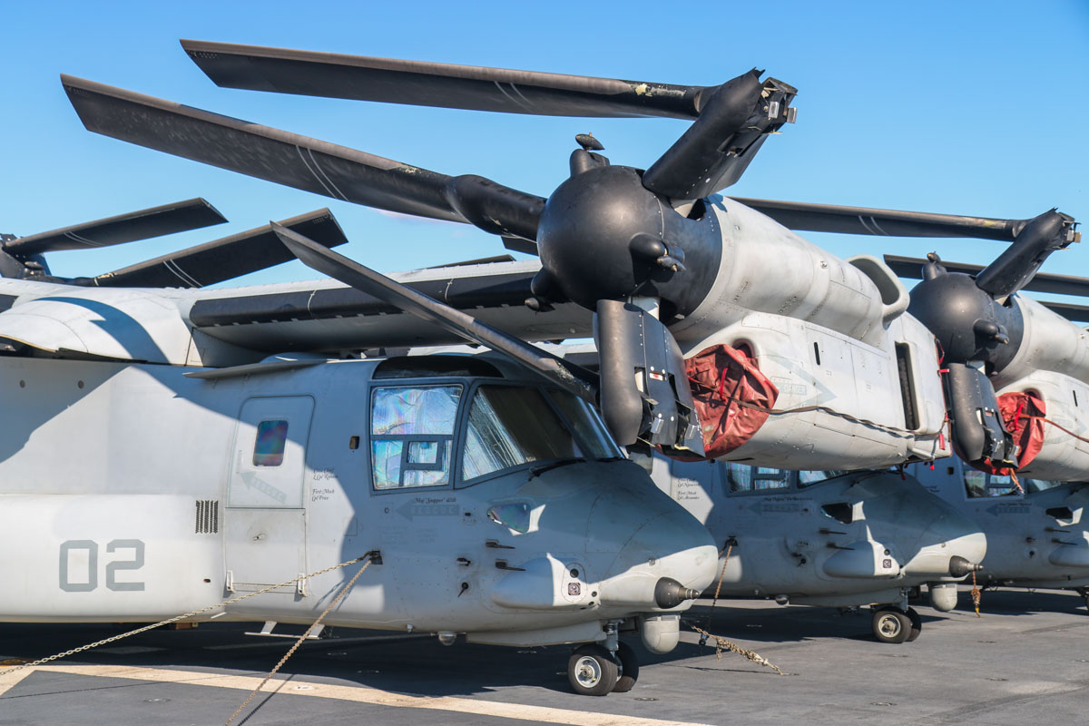 "168219/EP-02 Bell Boeing MV-22B Osprey (MSN D0169) of VMM-265 ""Dragons"", USMC, aboard USS Bonhomme Richard (LHD-6) at Fremantle - Fri 26 June 2015. Photo © David Eyre"
