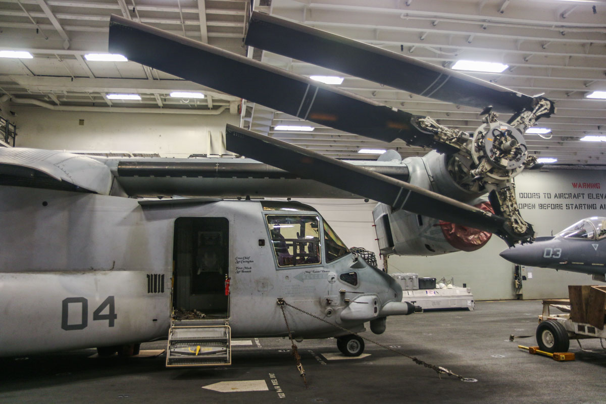 "168221/EP-04 Bell Boeing MV-22B Osprey (MSN D0171) of VMM-265 ""Dragons"", USMC, aboard USS Bonhomme Richard (LHD-6) at Fremantle - Fri 26 June 2015. Tilt rotor head fairings removed for maintenance. Photo © David Eyre"