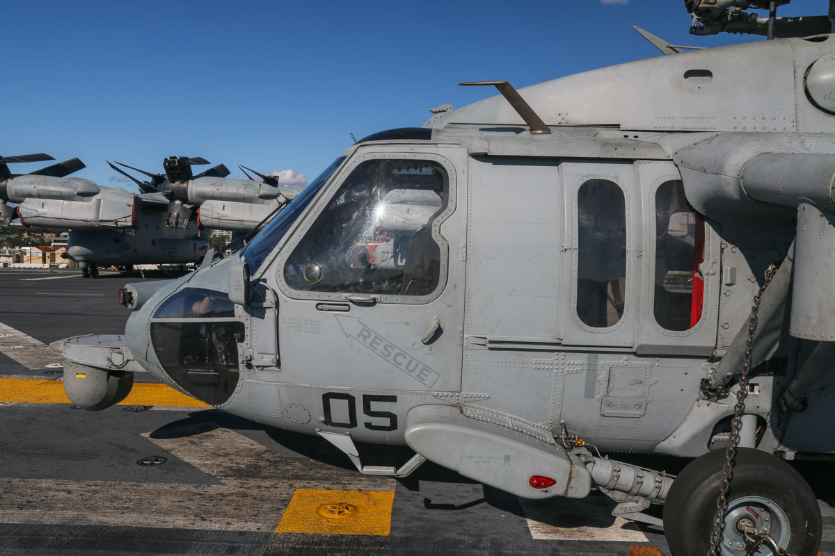 "168546/RB-05 Sikorsky MH-60S Seahawk (MSN 70-3971) of HSC-25 Detachment 6 ""Island Knights"", USN, aboard USS Bonhomme Richard (LHD-6), at Fremantle - Fri 26 June 2015. Photo © David Eyre"