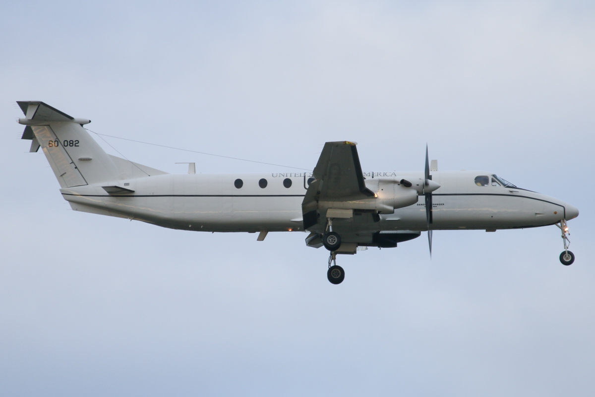 86-00082 Beech C-12J (1900C-1) (MSN UD-5) of 6th Theater Aviation Battalion, 52nd Aviation Regiment, US Army Aviation, at Perth Airport - Fri 26 June 2015. On final approach to runway 21 at 4:28pm using callsign 'CATS 12', arriving from Darwin via Port Hedland. Based at Atsugi Air Base, Japan. This aircraft is believed to have visited in conjunction with the port visit to Fremantle by the USS Bonhomme Richard Expeditionary Strike Group, prior to Exercise Talisman Sabre 2015. It arrived shortly after Beech C-12U-3 84-00152. Both aircraft departed on 28 June 2015 at 8:42am - this one used callsign 'CATS 12' again on departure back to Port Hedland. Photo © David Eyre