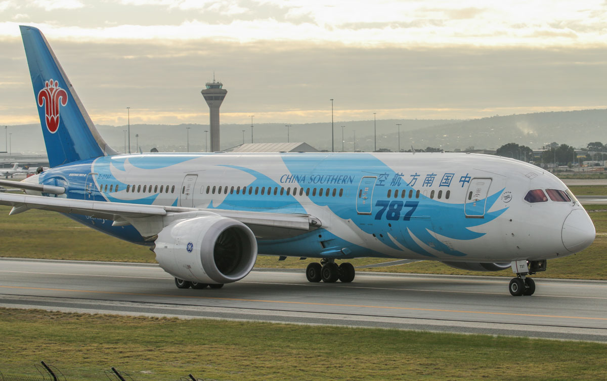 B-2737 Boeing 787-8 Dreamliner (MSN 34930/104) of China Southern, at Perth Airport - Fri 26 June 2015. Flight CZ320 to Guangzhou, taxying on taxiway A to runway 03 at 9:19am for departure. The next day, taxiway C11 opened, and international flights no longer follow this route to runway 03. Photo © David Eyre