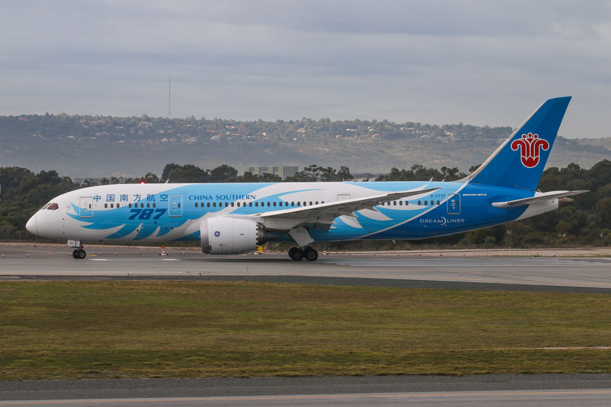 B-2737 Boeing 787-8 Dreamliner (MSN 34930/104) of China Southern, at Perth Airport - Fri 26 June 2015. Flight CZ320 to Guangzhou, lining up on runway 03 for takeoff at 9:25am. Photo © David Eyre