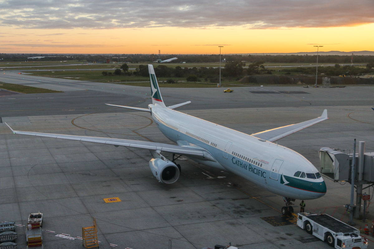 B-HLQ Airbus A330-343X (MSN 420) of Cathay Pacific at Perth Airport – Fri 26 June 2015. Flight CX136 to Hong Kong, at Bay 53, about to push back for engine start at 07:22am. Photo © David Eyre