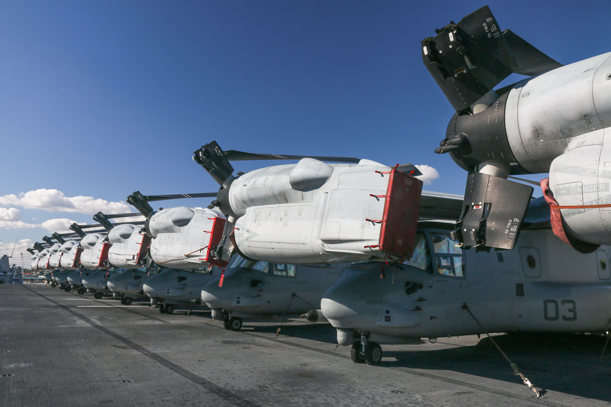 Bell Boeing MV-22B Ospreys of VMM-265 'Dragons' aboard USS Bonhomme Richard (LHD-6) at Fremantle - Fri 26 June 2015. Furthest to nearest: 168219/EP-02 (MSN D0169); 168217/EP-01 (MSN D0167); 168028/EP-07 (MSN D0158); 168032/EP-09 (MSN D0162); 168027/EP-06 (MSN D0157); 168218/EP-11 (MSN D0168); 168031/EP-08 (MSN D0161); 168224/EP-05 (MSN D0174); 168223/EP-03 (MSN D0173); 168216/EP-10 (MSN D0166). Photo © David Eyre