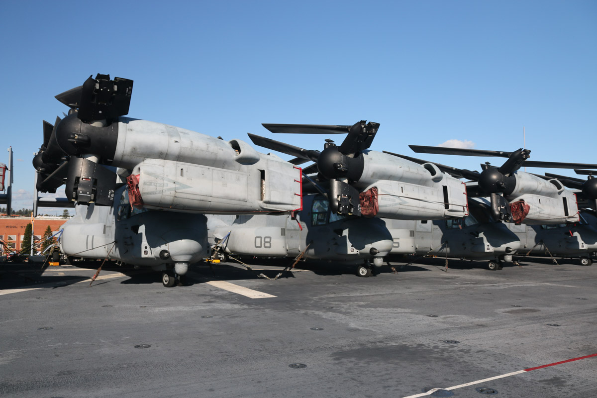 Bell Boeing MV-22B Ospreys of VMM-265 'Dragons' aboard USS Bonhomme Richard (LHD-6) at Fremantle - Fri 26 June 2015. Left to right: 168218/EP-11 (MSN D0168); 168031/EP-08 (MSN D0161); 168224/EP-05 (MSN D0174); 168223/EP-03 (MSN D0173). Photo © David Eyre
