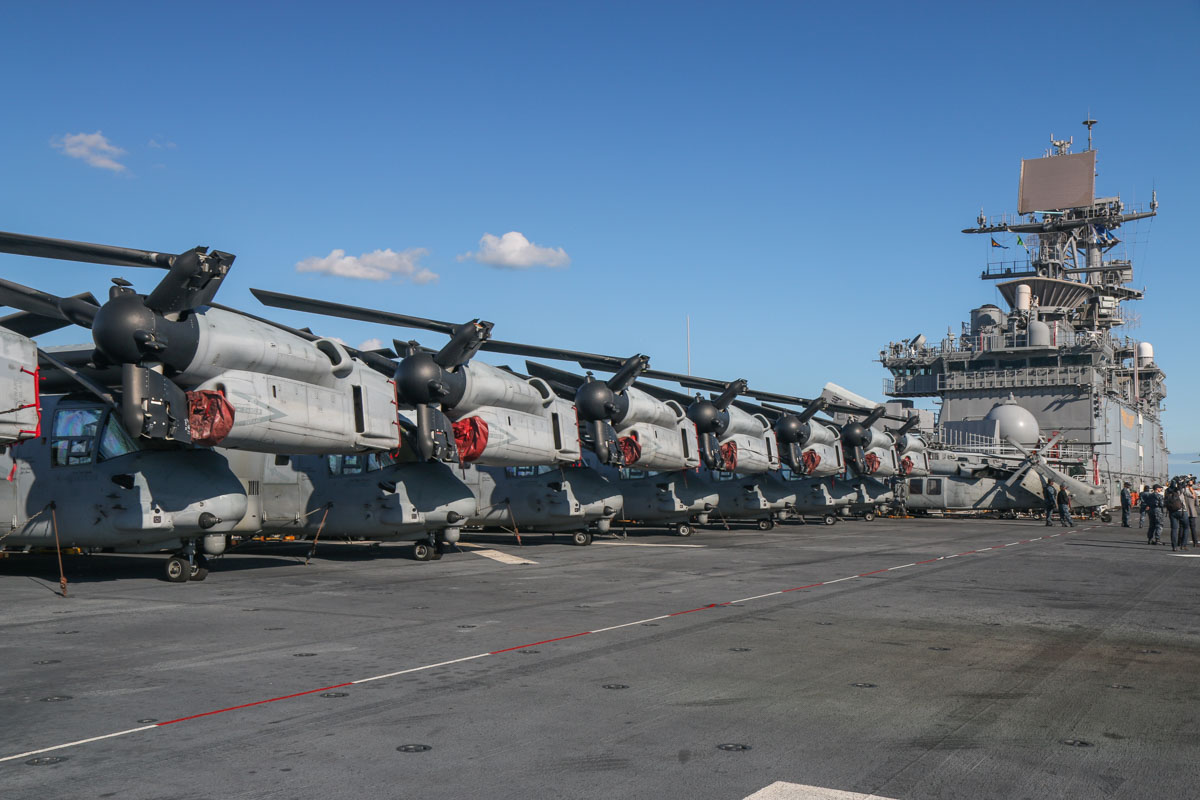 Bell Boeing MV-22B Ospreys of VMM-265 'Dragons', USMC and 167889/RB-03 Sikorsky MH-60S Seahawk (MSN 703894) of HSC-25 Detachment 6 'Island Knights', USN, aboard USS Bonhomme Richard (LHD-6) at Fremantle - Fri 26 June 2015. Osprey serials (left to right): 168032/EP-09 (MSN D0162); 168027/EP-06 (MSN D0157); 168218/EP-11 (MSN D0168); 168031/EP-08 (MSN D0161); 168224/EP-05 (MSN D0174); 168223/EP-03 (MSN D0173); 168216/EP-10 (MSN D0166). Photo © David Eyre