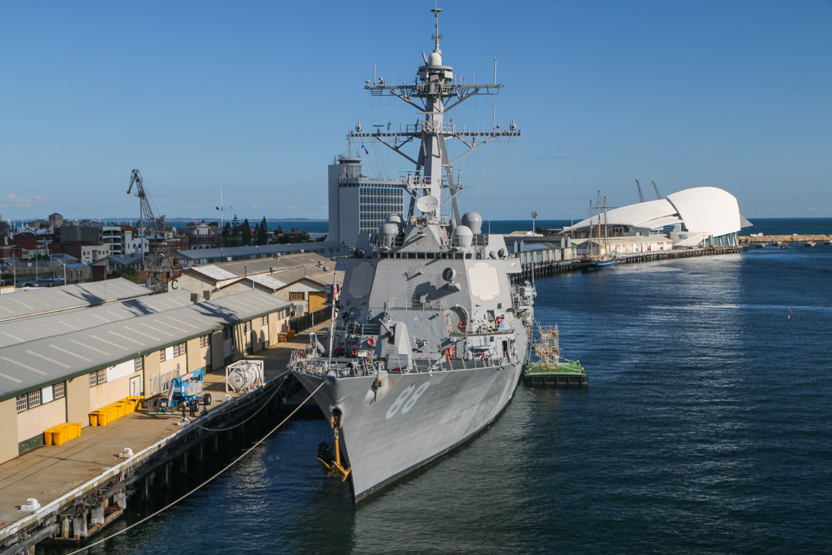 USS Preble (DDG-88), an Arleigh Burke-class guided missile destroyer, at Fremantle - Fri 26 June 2015. Photo taken from the aft end of USS Bonhomme Richard (LHD-6). USS Preble had two Sikorsky MH-60R Seahawks of HSM-37 Detachment 5 'Easyriders' inside the hangars. Photo © David Eyre