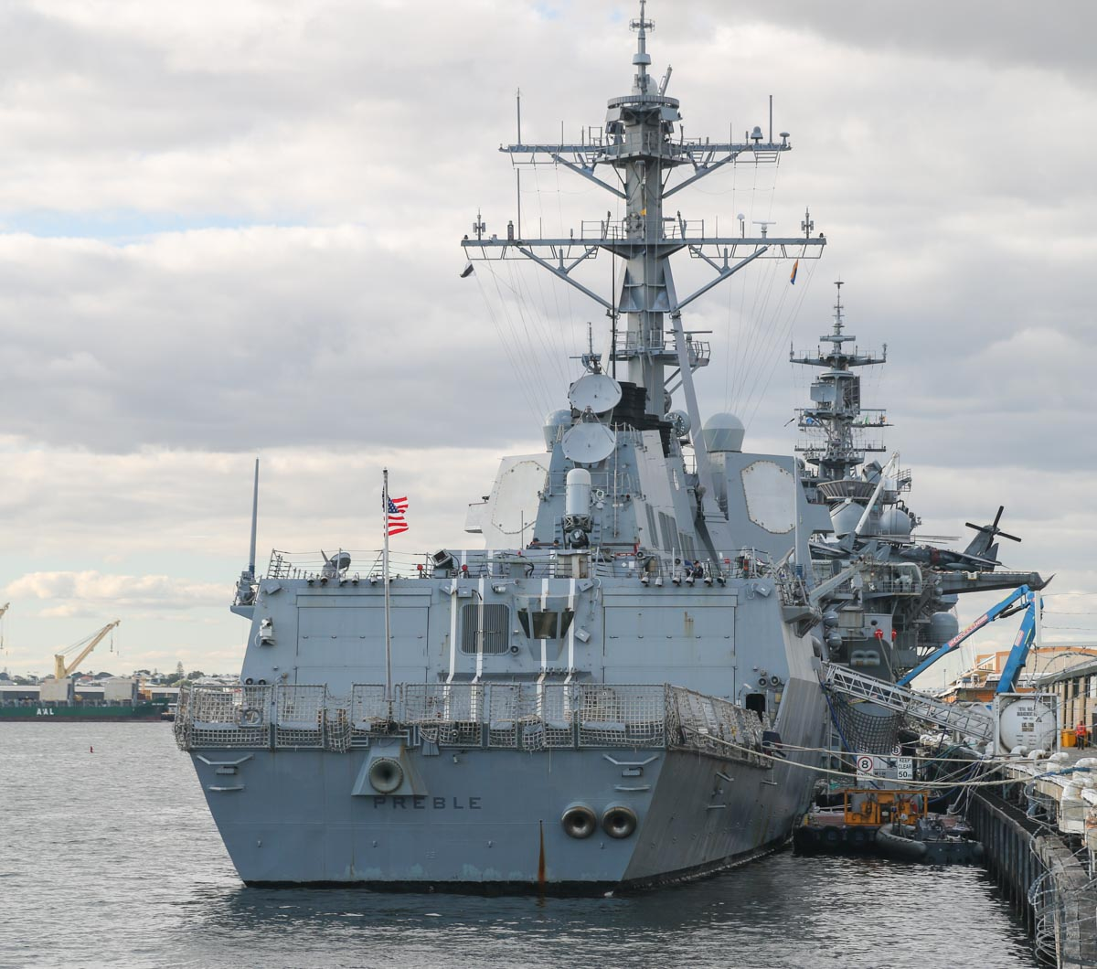 USS Preble (DDG-88), an Arleigh Burke-class guided missile destroyer, at Fremantle - Fri 26 June 2015. Had two Sikorsky MH-60R Seahawks of HSM-37 Detachment 5 'Easyriders' inside the hangars. Photo © David Eyre