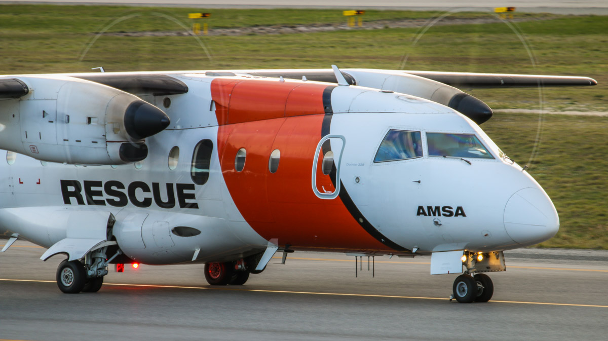 VH-PPG Dornier 328-120 (MSN 3053) of AeroRescue Pty Ltd, operated for AMSA, at Perth Airport - Fri 26 June 2015. Taxying to runway 03 at 8:32am for departure - it returned a couple of hours later. Photo © David Eyre