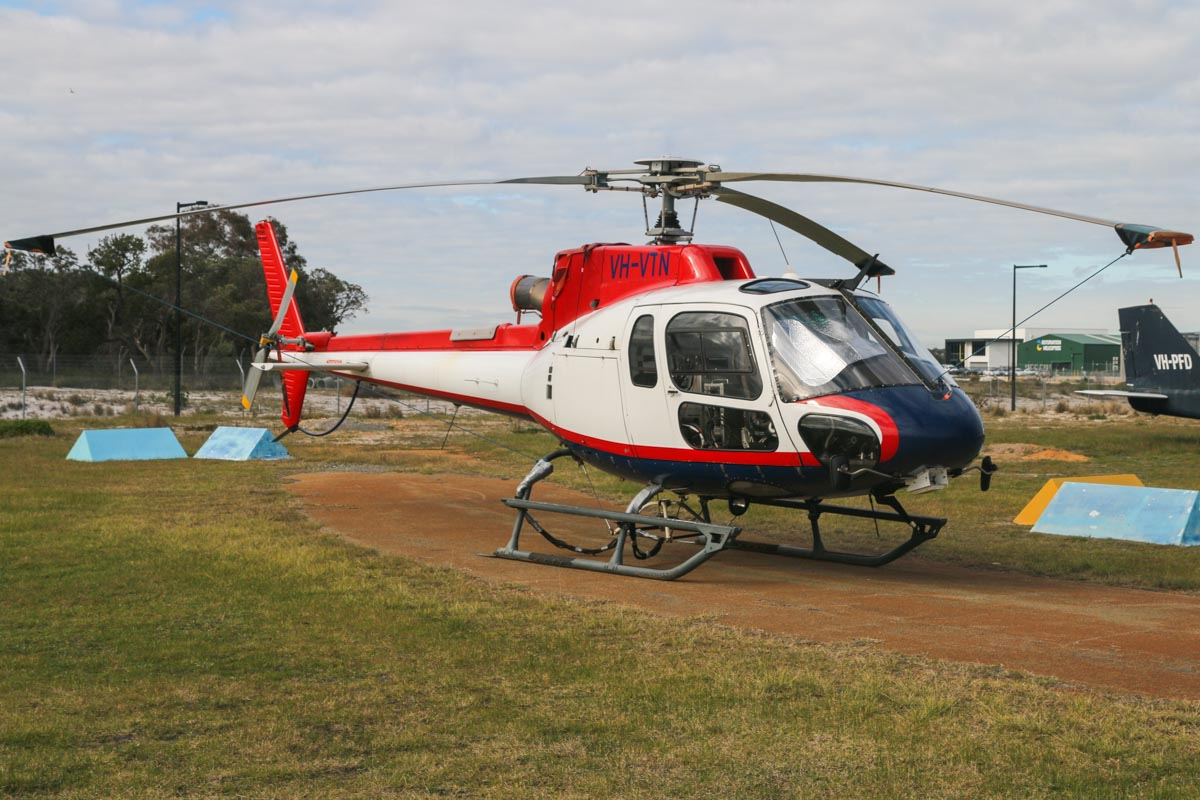VH-VTN Eurocopter AS350B3 Squirrel (MSN 4527) of Geotech Airborne Pty Ltd, at Jandakot Airport - Fri 26 June 2015. Used for electromagnetic geophysical survey work, using a magnetometer and transmitter/receiver loop as a sling load - note that the cabin is full of survey electronics. Photo © David Eyre