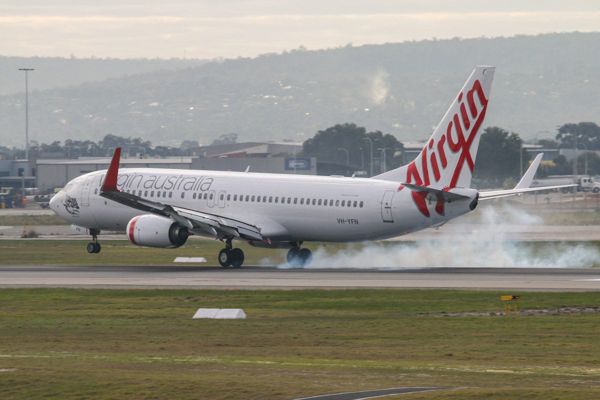 VH-YFN Boeing 737-8FE (MSN 41009/4456) of Virgin Australia, named 'Ballina Beach', at Perth Airport - Fri 26 June 2015. Flight VA677 from Melbourne, landing on runway 03 at 9:32am. Photo © David Eyre