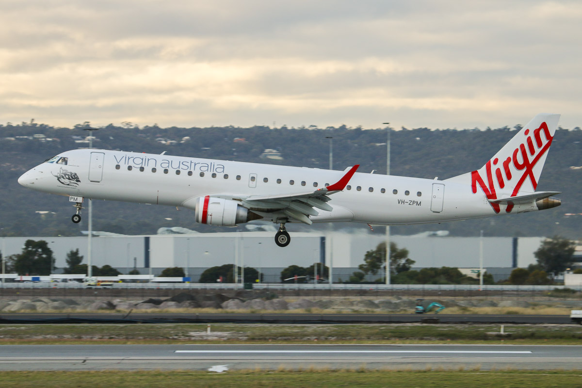 VH-ZPM Embraer 190AR (ERJ-190-100IGW) (MSN 19000262) of Virgin Australia, named 'Maroochydore Beach', at Perth Airport – Fri 26 June 2015. Landing on runway 03 at 8:13am as VA713 from Adelaide. This aircraft formerly wore Pacific Blue livery. Photo © David Eyre