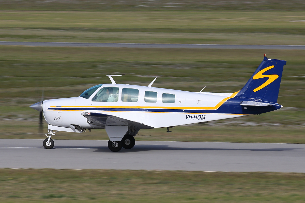 VH-HOM Beech A36 Bonanza (MSN E1414) of Shine Aviation at Jandakot Airport – 30 June 2015.