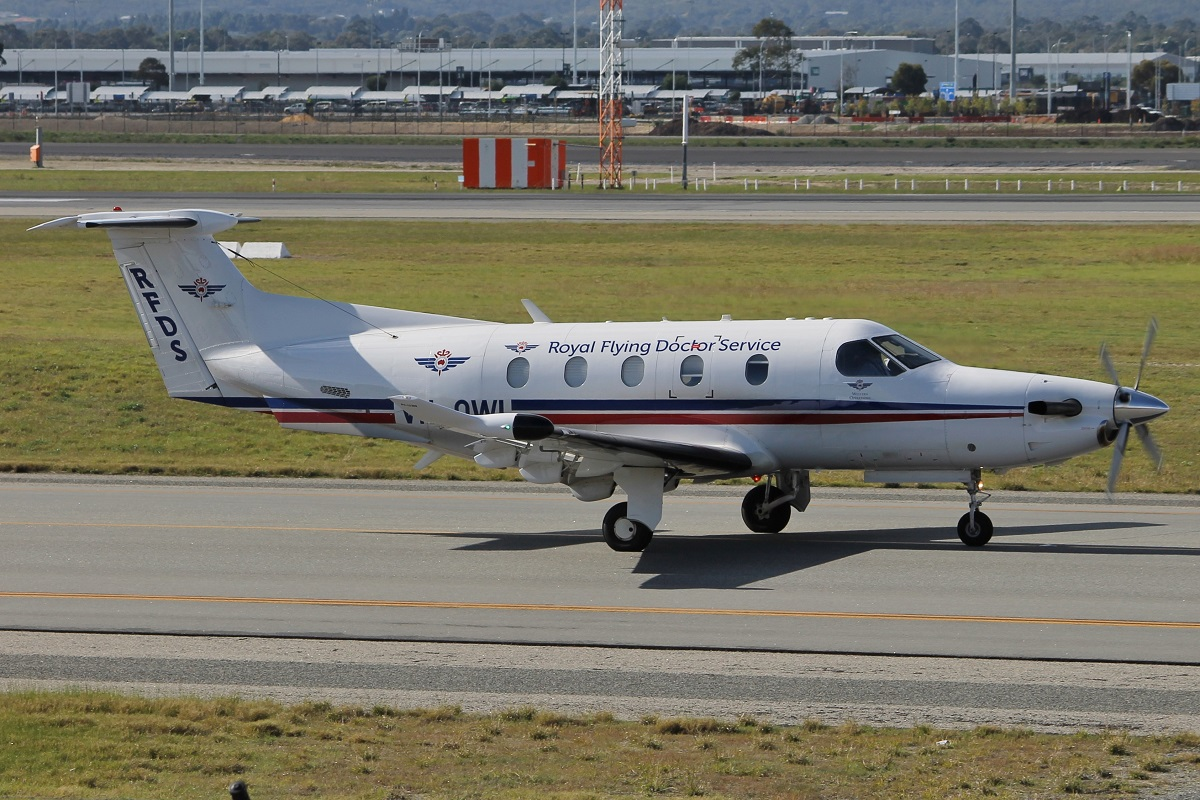VH-OWI Pilatus PC-12/47E (MSN 1232) of Royal Flying Doctor Service - Western Operations at Perth Airport – 5 July 2015.