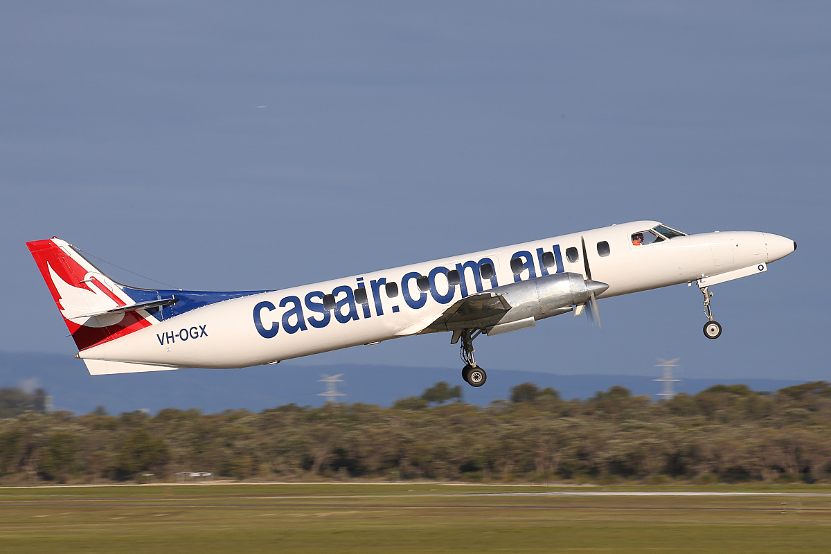 VH-OGX Swearingen SA226-TC Metro II (MSN TC-395) of Casair, at Jandakot Airport – 9 July 2015.