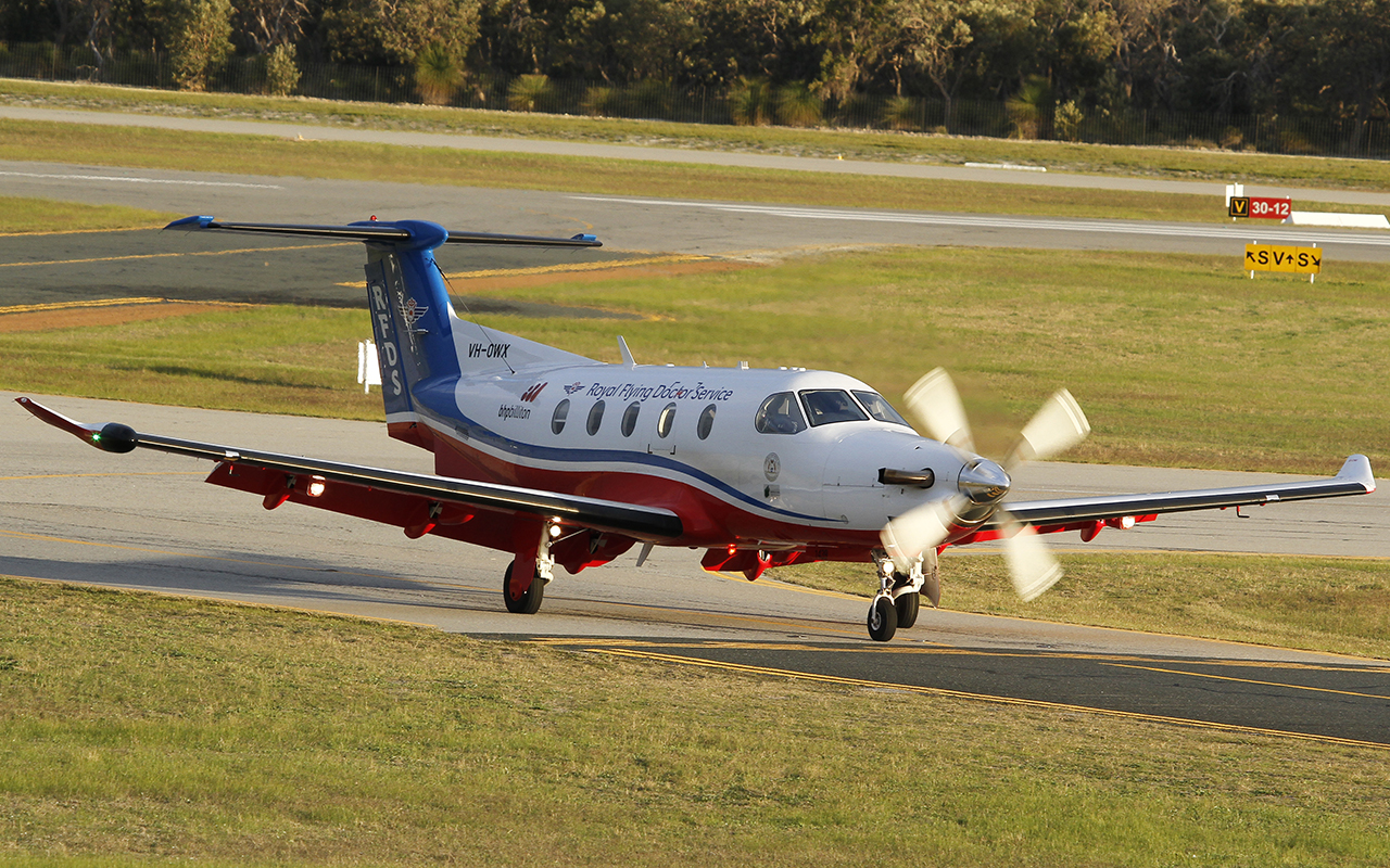 VH-OWX Pilatus PC-12/47E (MSN 1439) of the Royal Flying Doctor Service (Western Operations), at Jandakot Airport – 9 July 2015.