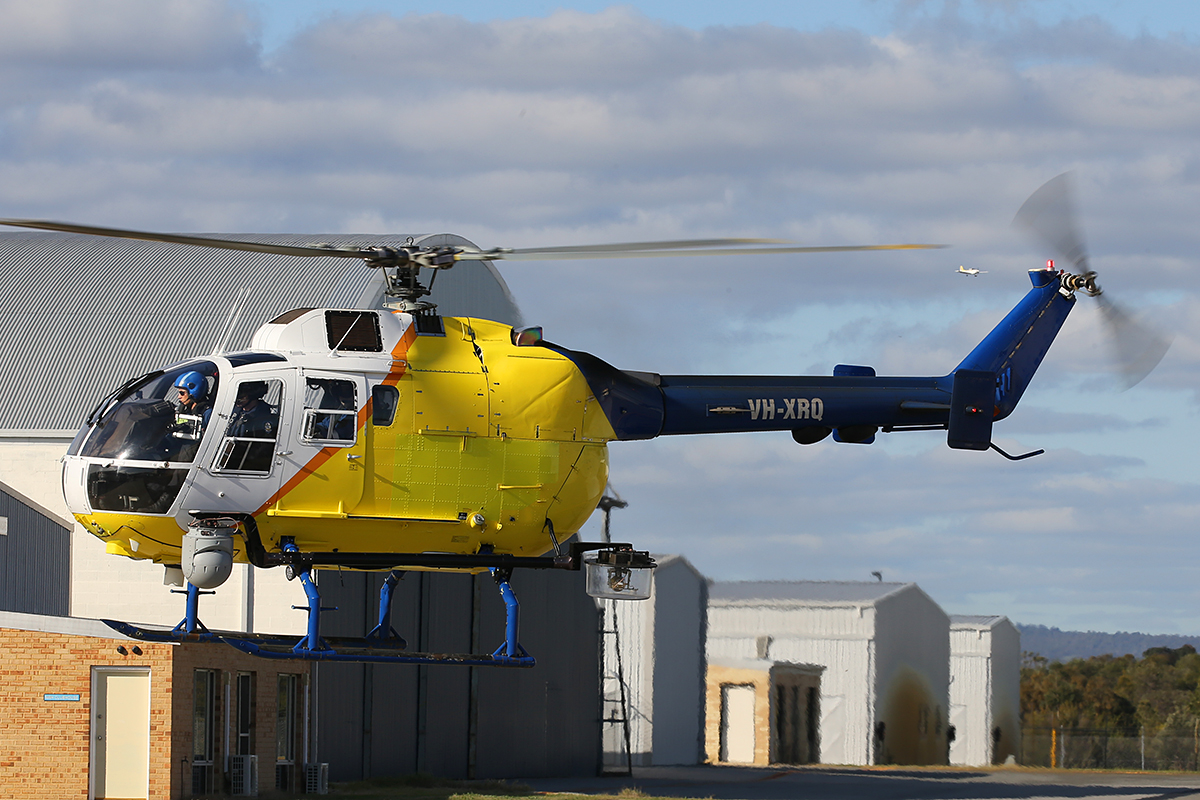 VH-XRQ Eurocopter Canada Ltd (MBB) BO105LS A-3 (MSN 2016) of Heliwest at Jandakot Airport – 9 July 2015.
