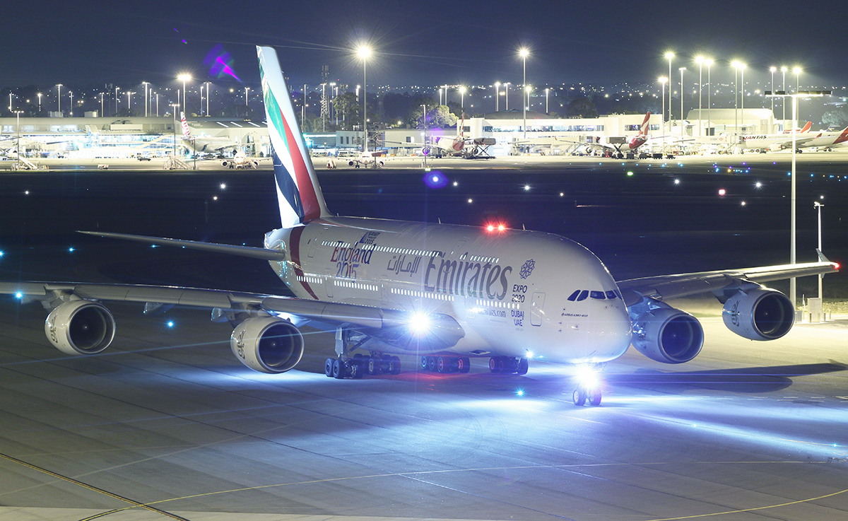 A6-EET Airbus A380-861 (MSN 142) of Emirates, with World Cup 2015 - England 2015' decals on the rear fuselage, at Perth Airport – 10 July 2015.