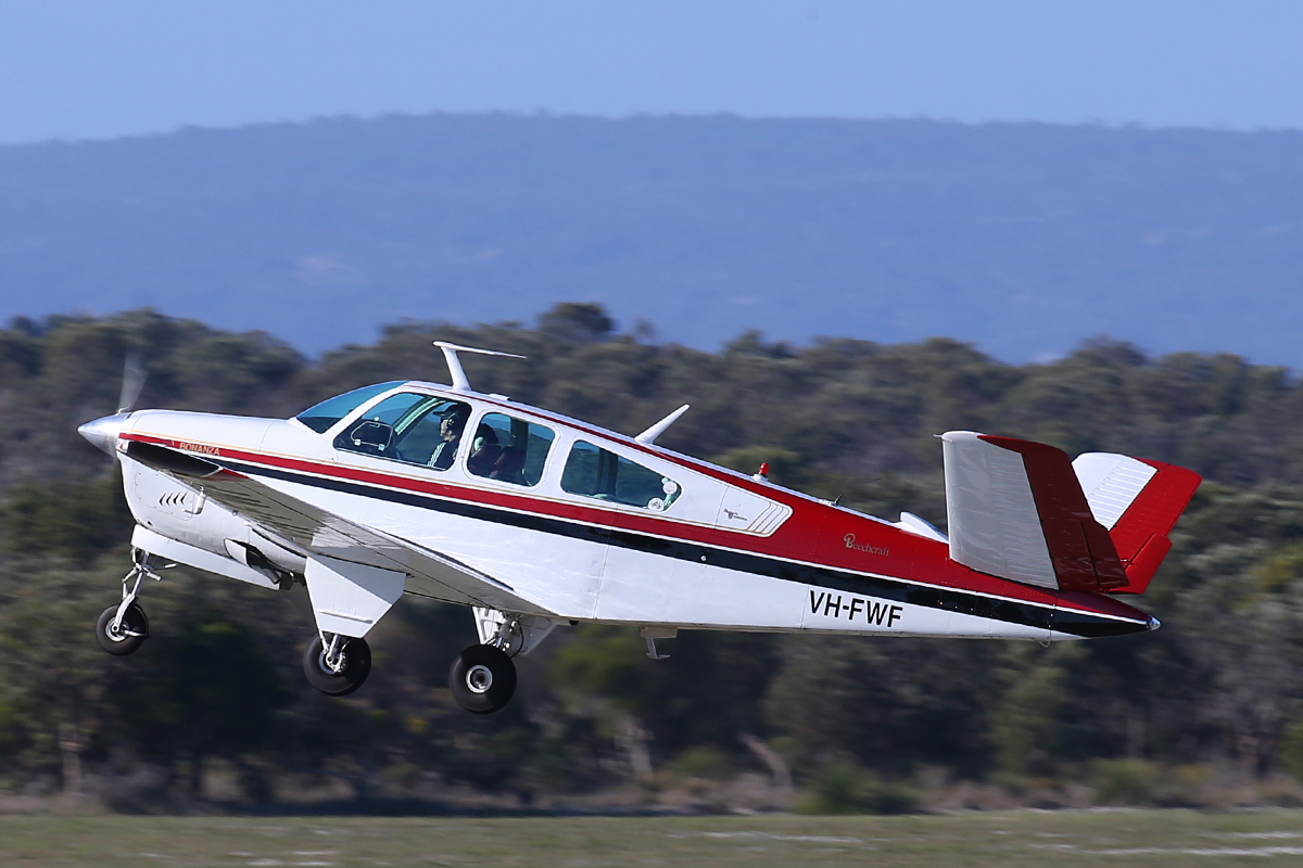 VH-FWF Beech Bonanza V35A Mk.2 (MSN D-8827) at Jandakot Airport – 11 July 2015.